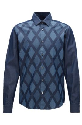 'Lance' | Regular Fit, Diamond Print Cotton Button Down Shirt, Dark Blue
