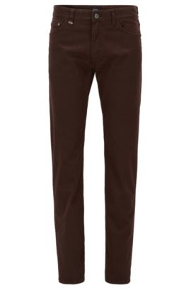 'Maine' | Regular Fit, Italian Stretch Cotton Jeans, Dark Brown
