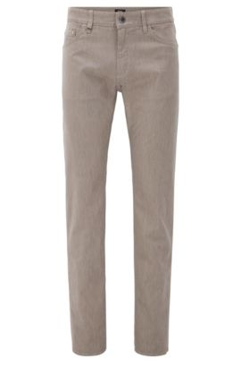 Italian Stretch Cotton Jeans, Regular Fit | Maine, Open Beige