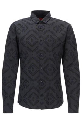 'Ero' | Extra Slim Fit, Patterned Cotton Button Down Shirt, Dark Blue