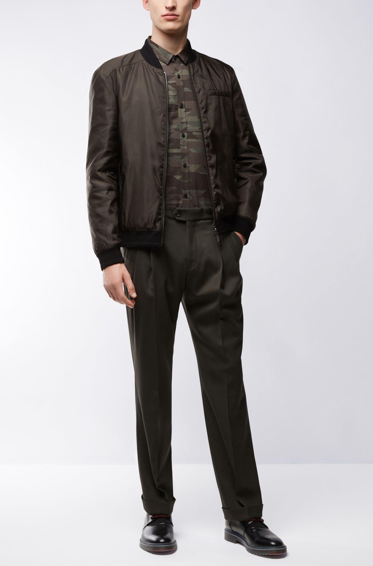 Camoflauge Cotton Button Down Shirt, Extra Slim Fit | Ero, Dark Green