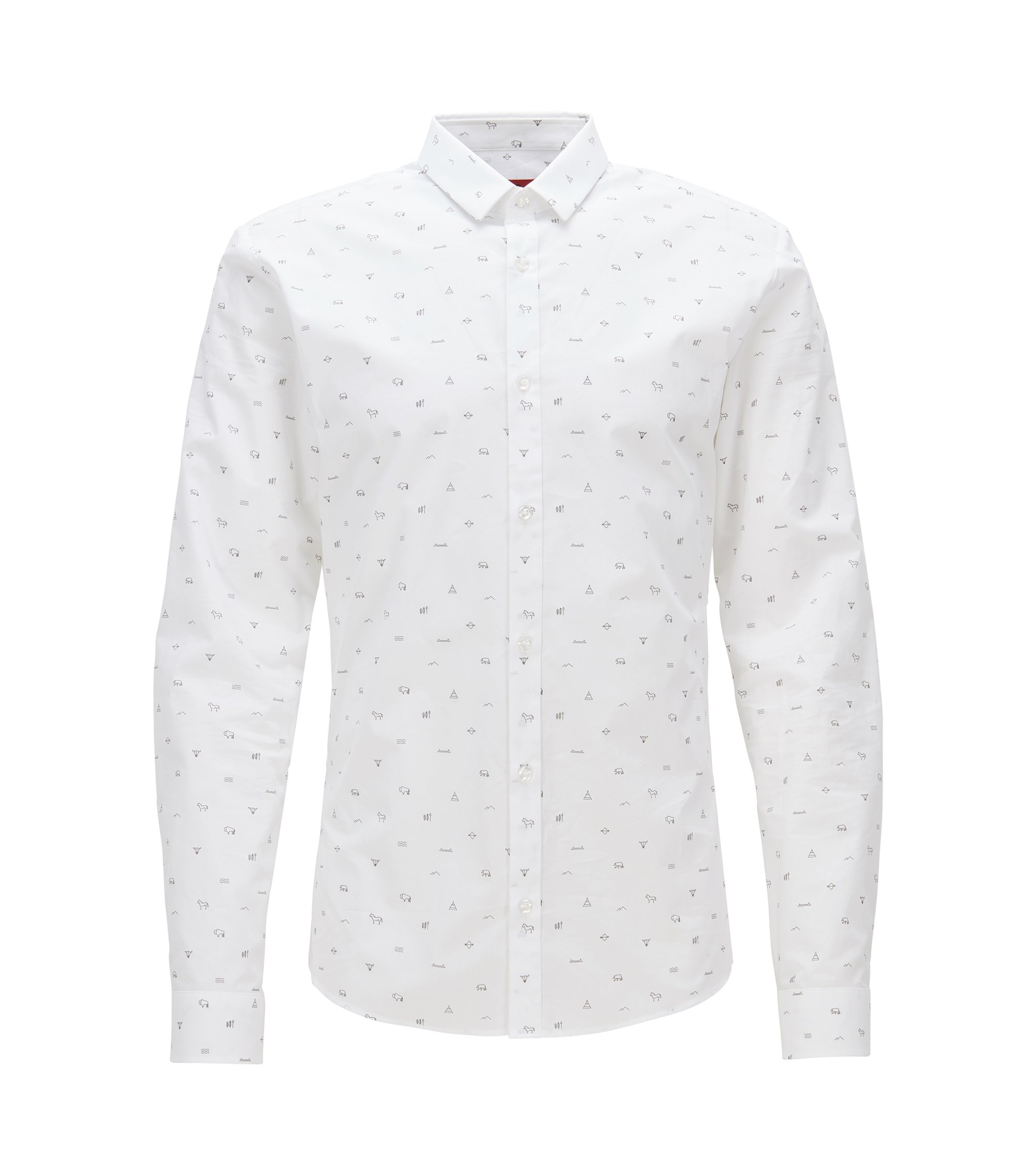 'Ero' | Extra Slim Fit, Patterned Cotton Button Down Shirt, Open White