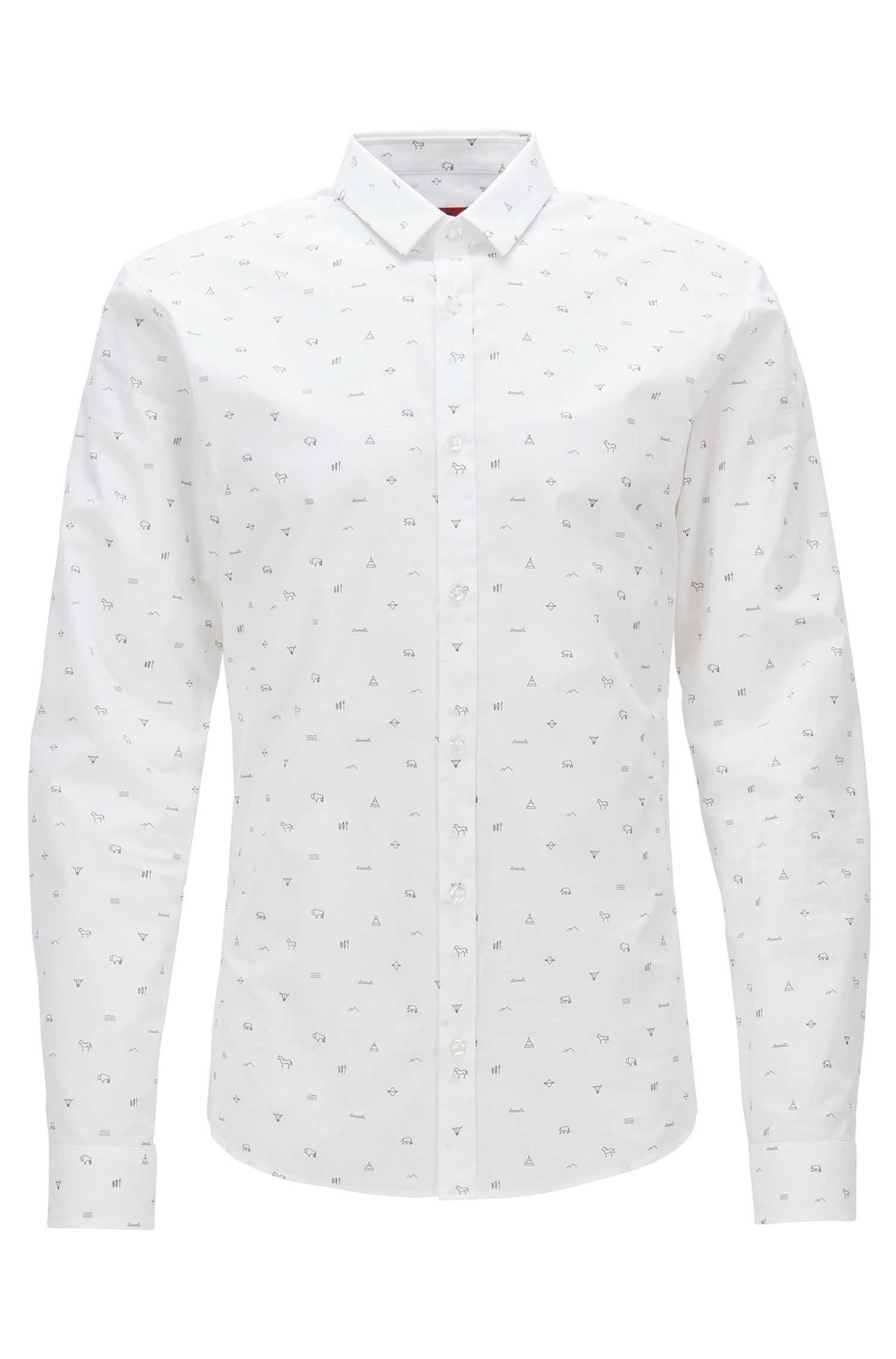'Ero' | Extra Slim Fit, Patterned Cotton Button Down Shirt