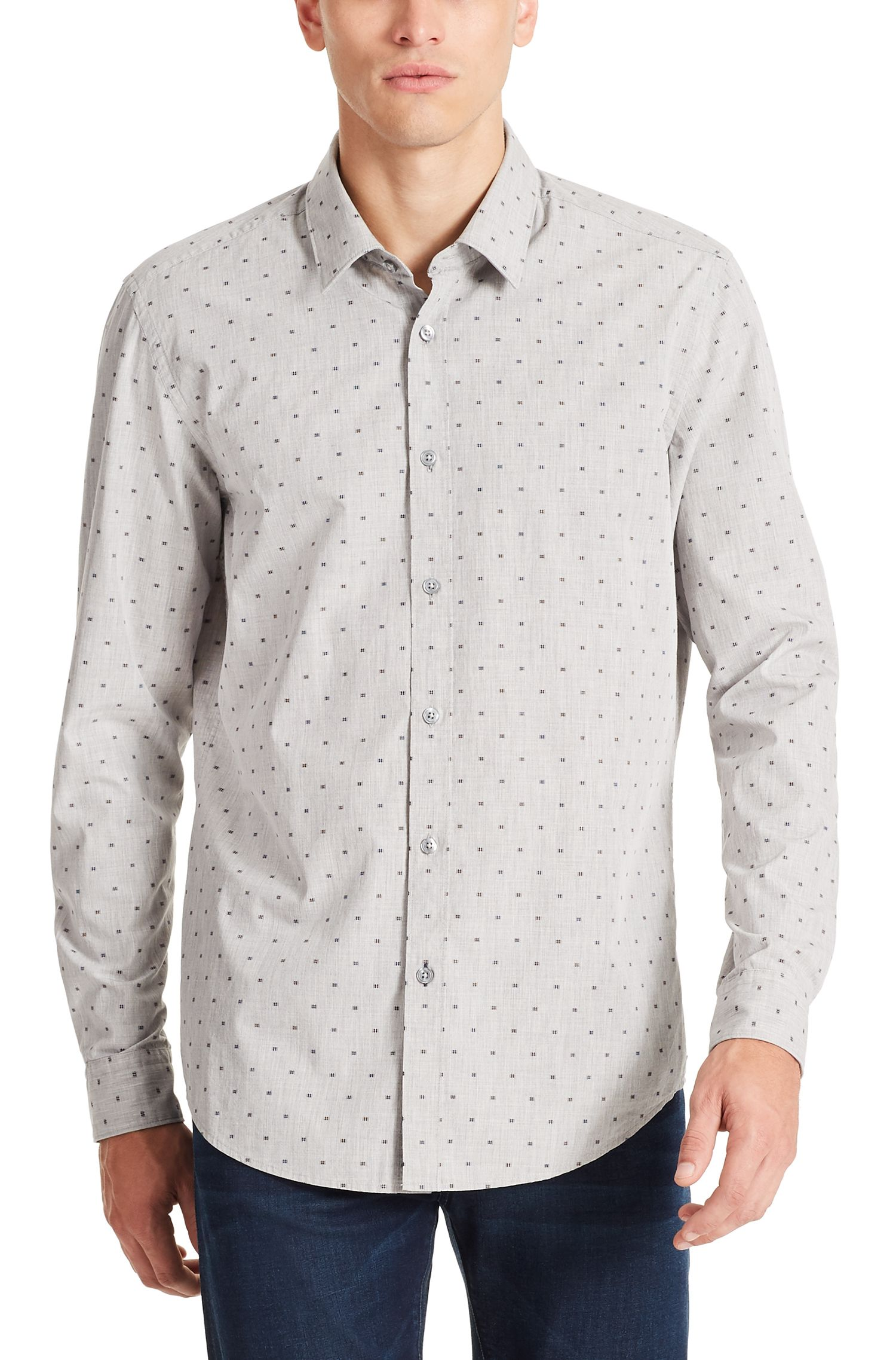 Fil Coupé Cotton Button Down Shirt, Regular Fit | Lukas