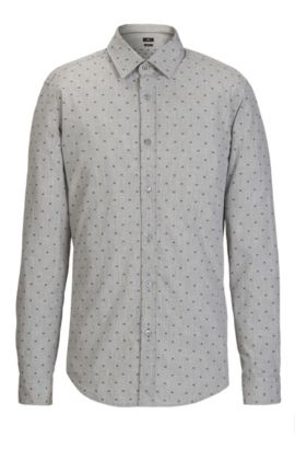 Fil Coupé Cotton Button Down Shirt, Regular Fit | Lukas, Grey