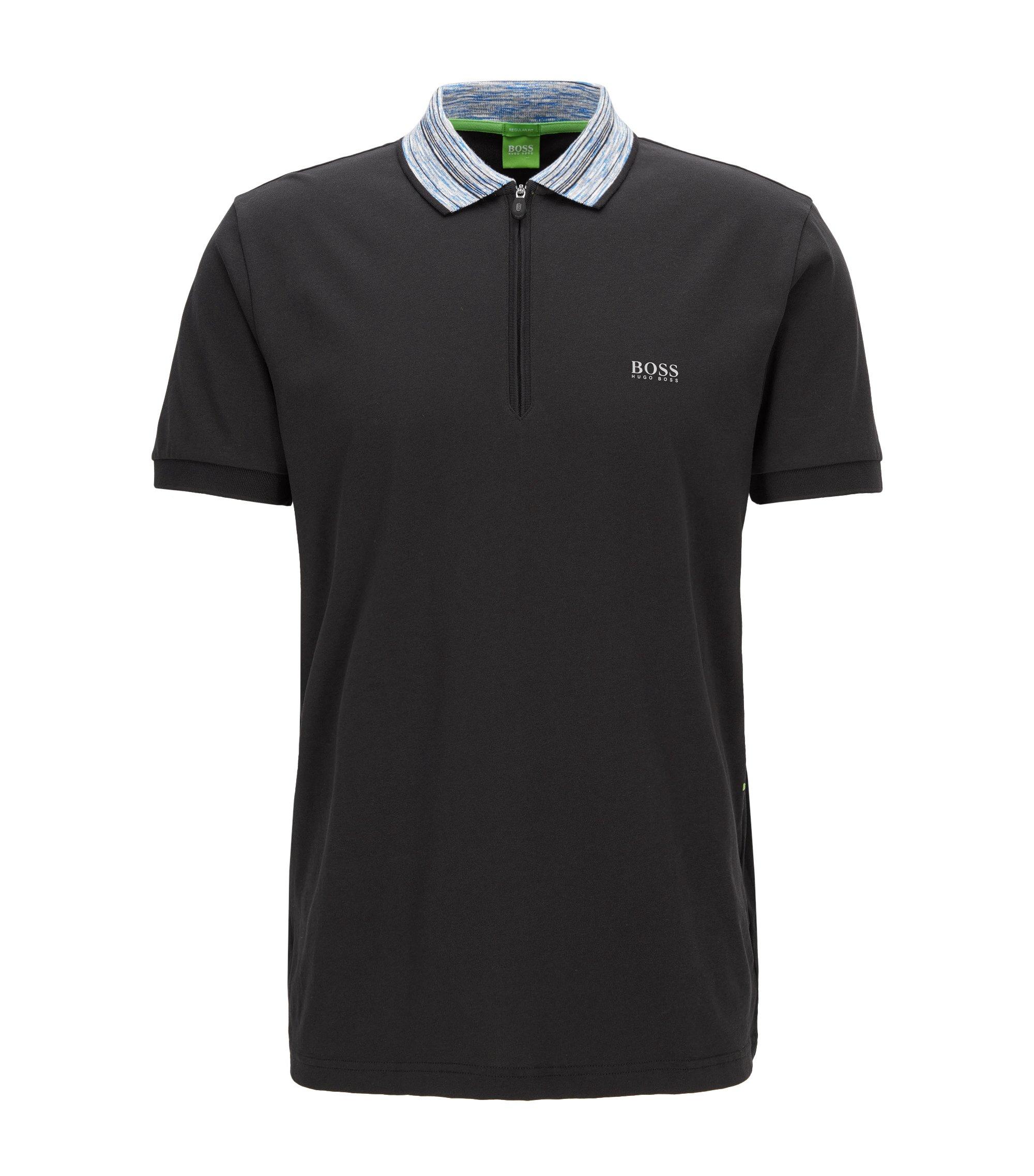 Cotton Blend Contrast Stripe Polo Shirt, Modern Fit | Philix, Black