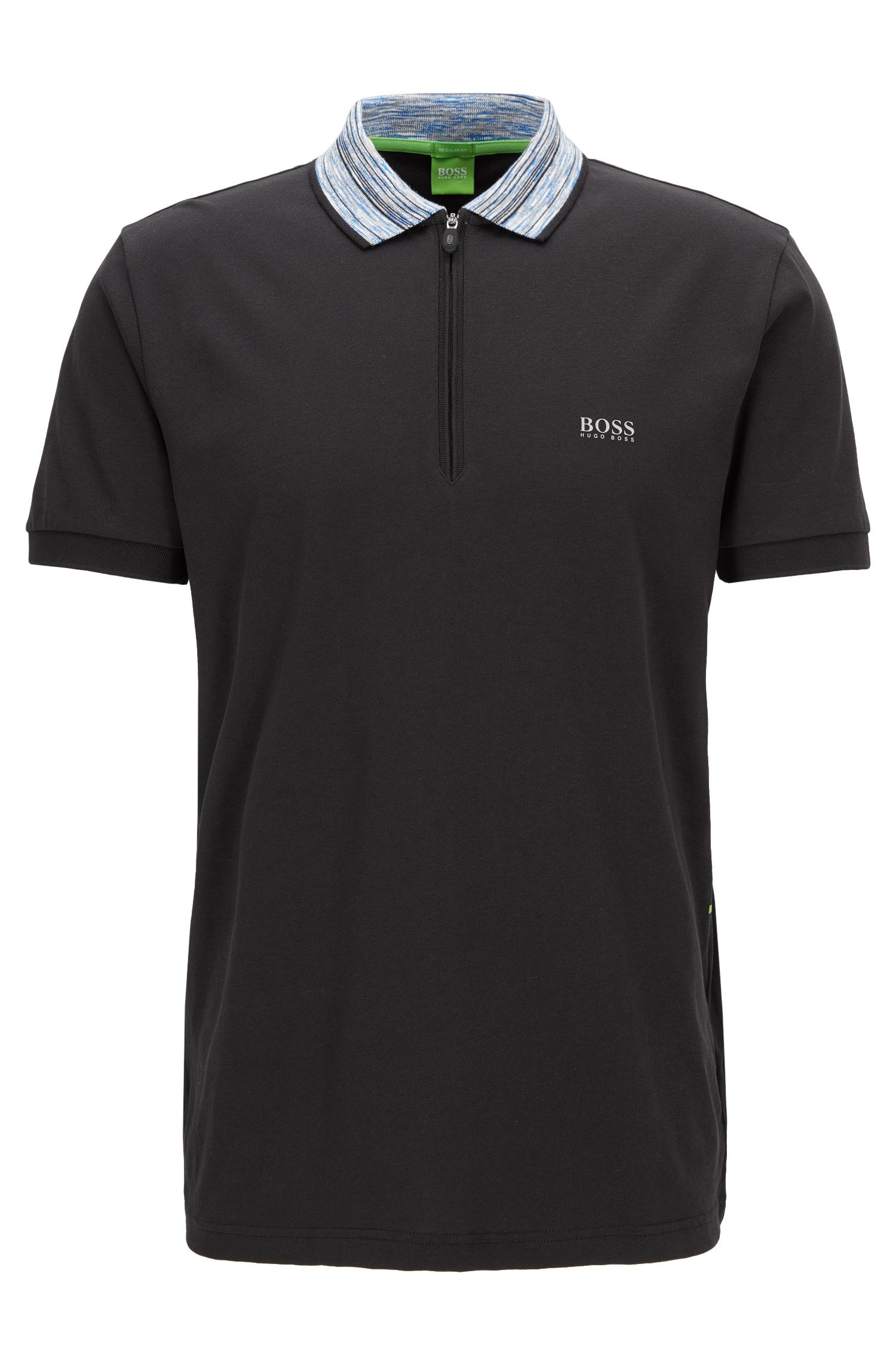 Cotton Blend Contrast Stripe Polo Shirt, Modern Fit | Philix