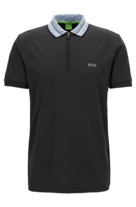Cotton Blend Contrast Stripe Polo Shirt, Modern Fit | Philix, Black
