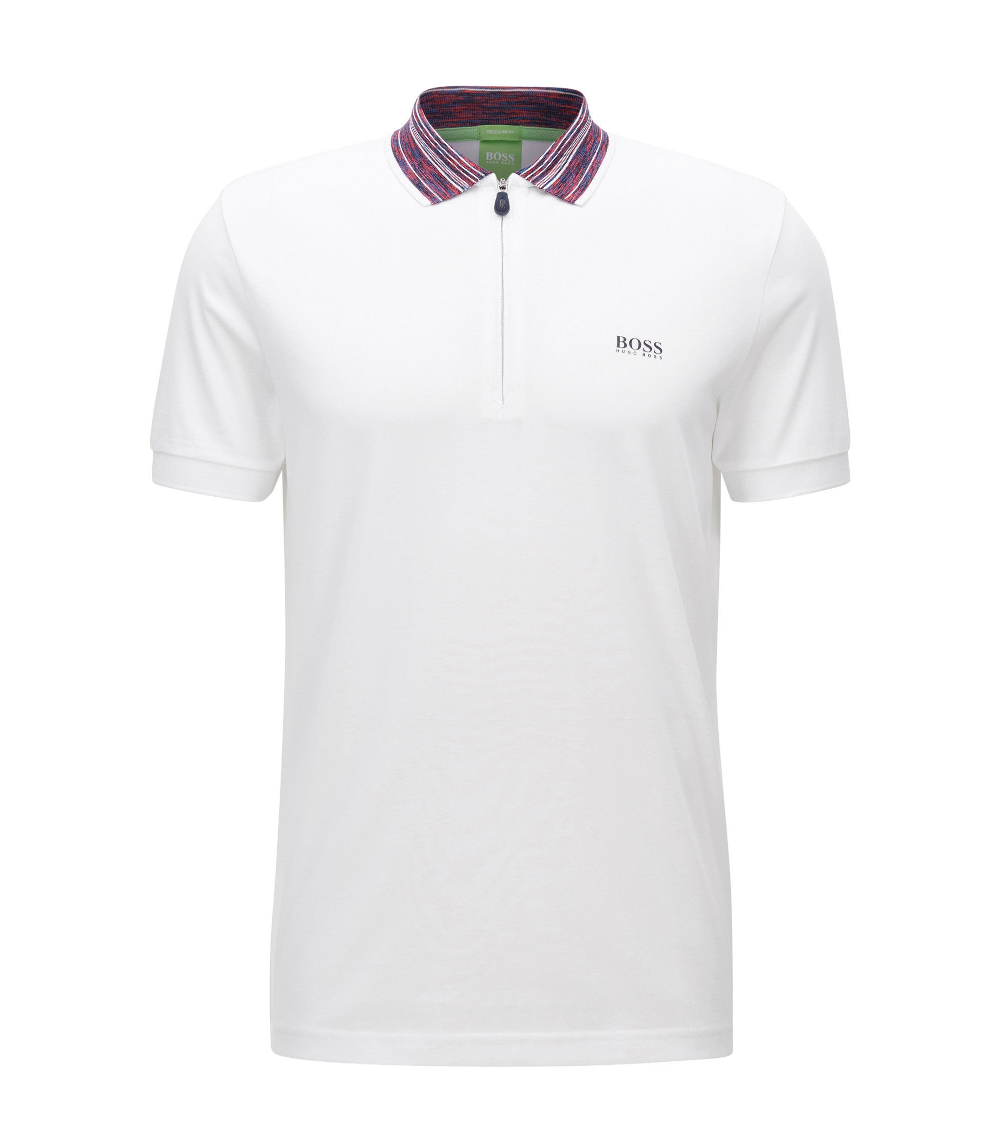 Cotton Blend Contrast Stripe Polo Shirt, Modern Fit | Philix, White