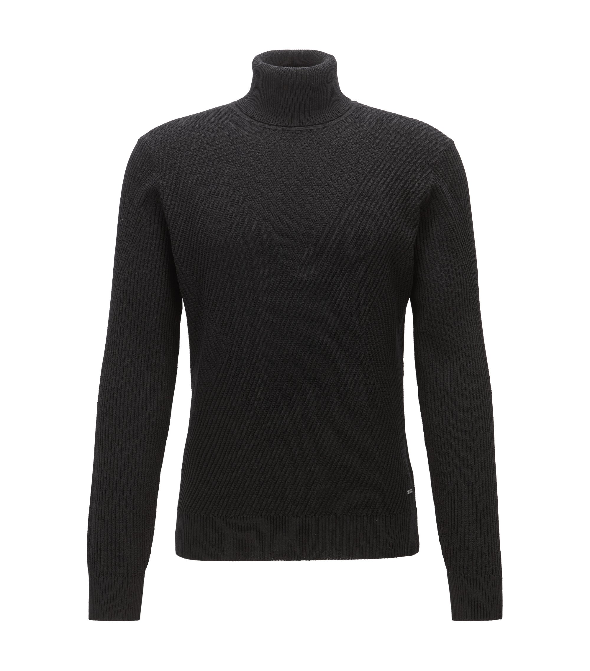 Ribbed Virgin Wool Sweater | Nazzaro, Black