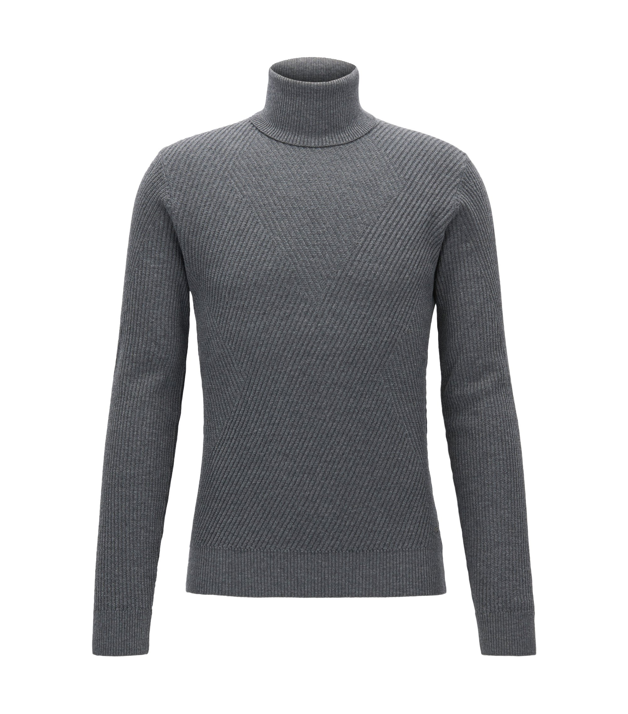 Ribbed Virgin Wool Sweater | Nazzaro, Grey