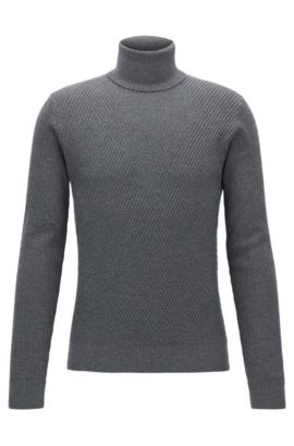 Ribbed Virgin Wool Sweater | Nazzaro, Grey