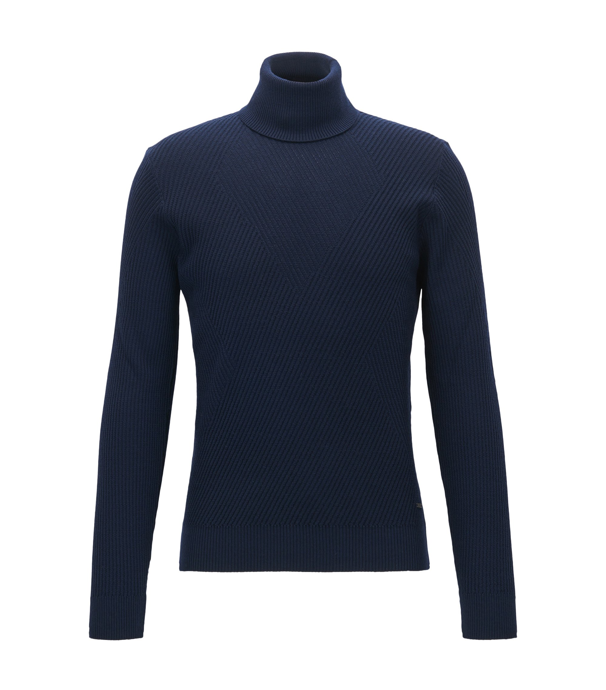 Ribbed Virgin Wool Sweater | Nazzaro, Dark Blue