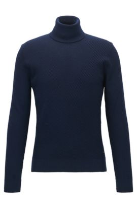 'Nazzaro' | Ribbed Virgin Wool Sweater, Dark Blue