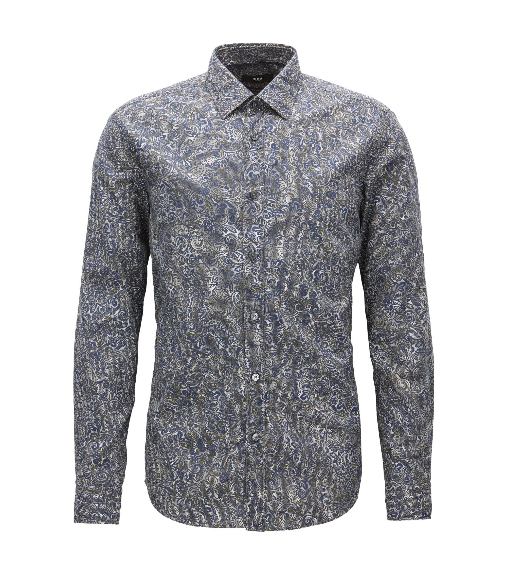 Paisley Cotton Button Down Shirt, Regular Fit   Lukas, Dark Blue