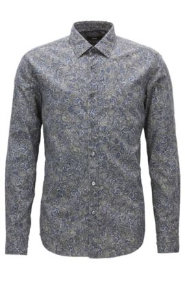 'Lukas' | Regular Fit, Paisley Cotton Button Down Shirt, Dark Blue
