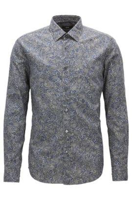 Paisley Cotton Button Down Shirt, Regular Fit | Lukas, Dark Blue