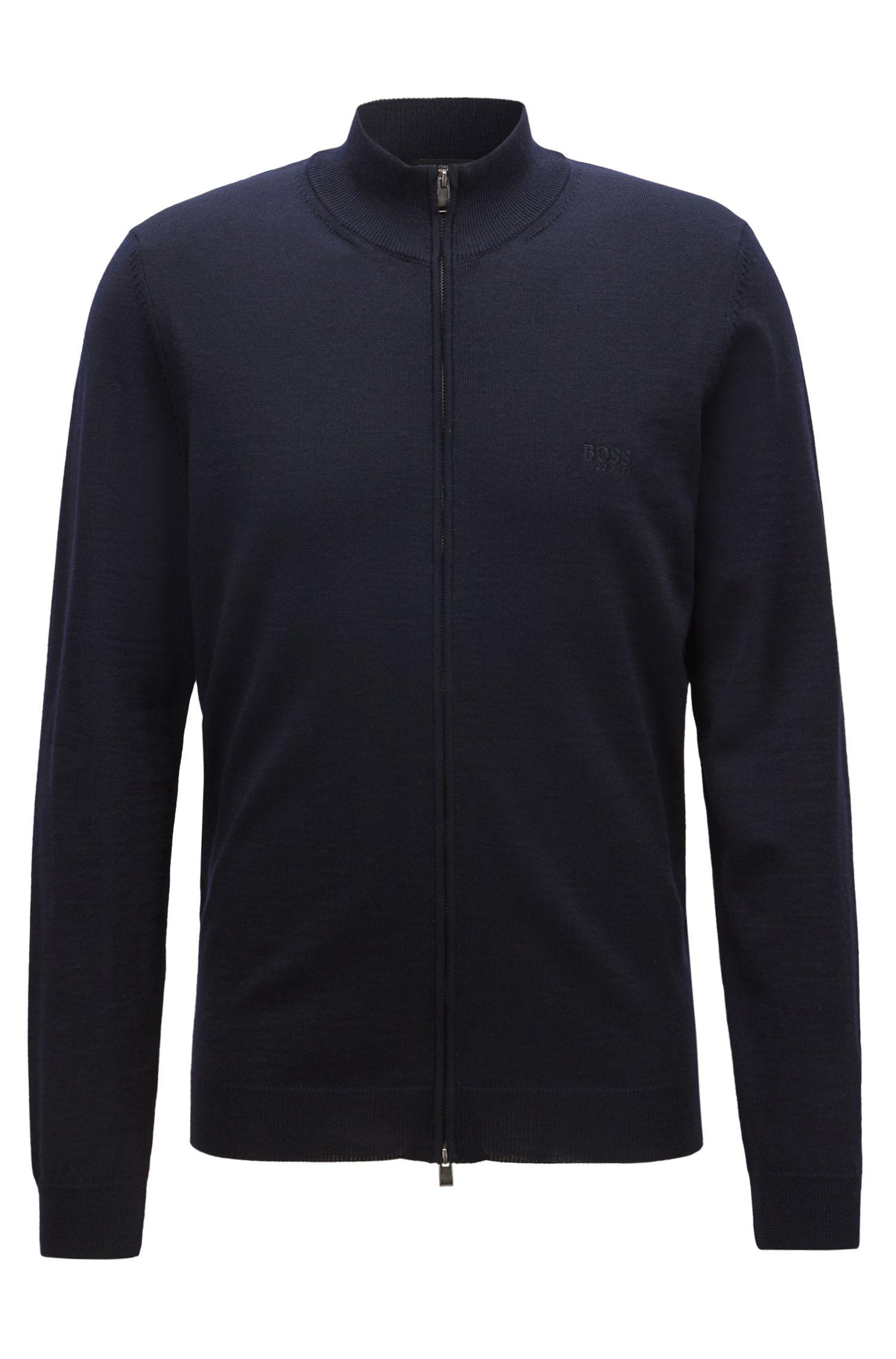 Zip-through cardigan in virgin wool, Open Blue