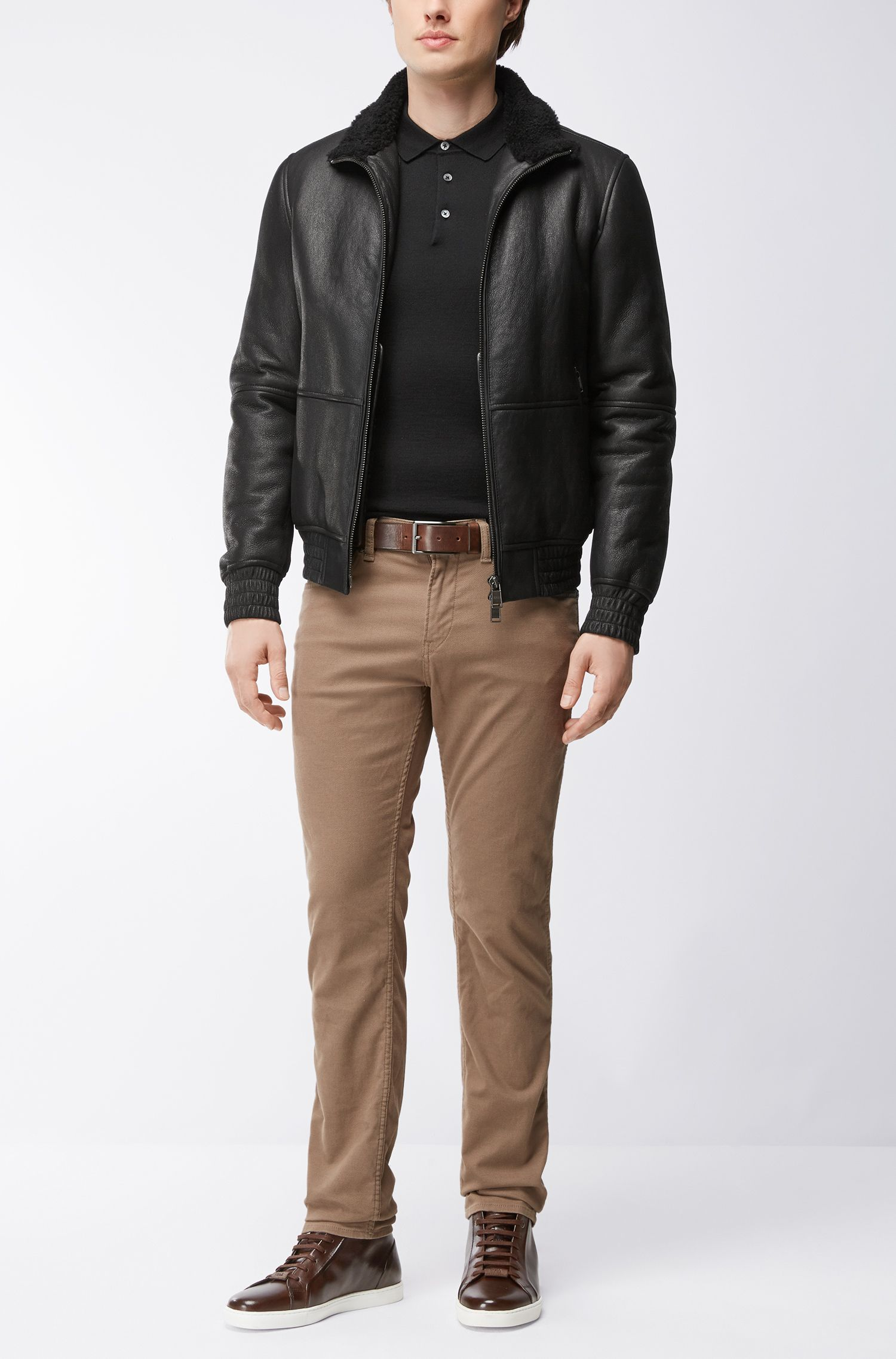 Long-sleeved polo-collar sweater in virgin wool, Black