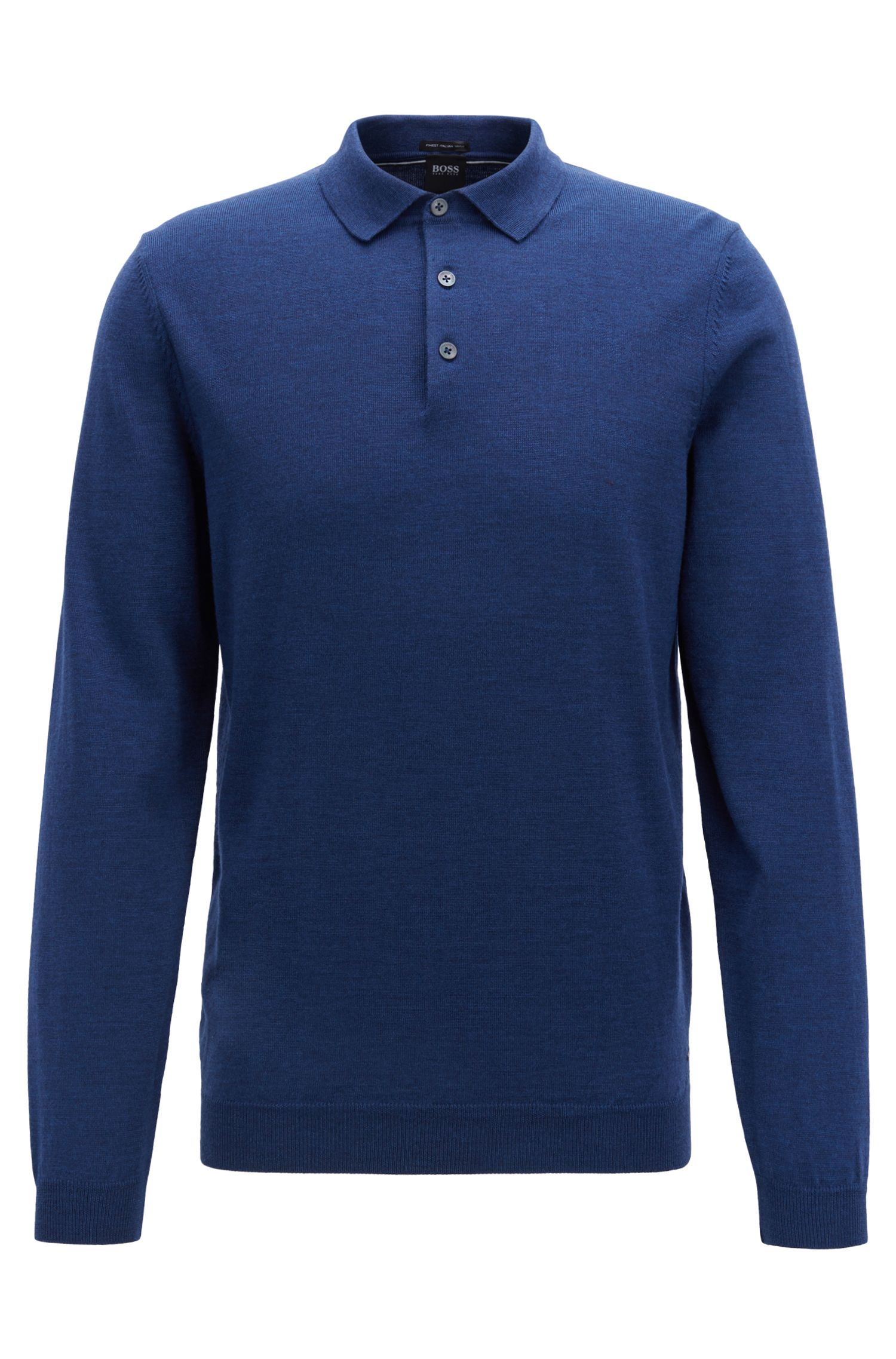 Long-sleeved polo-collar sweater in virgin wool, Open Blue