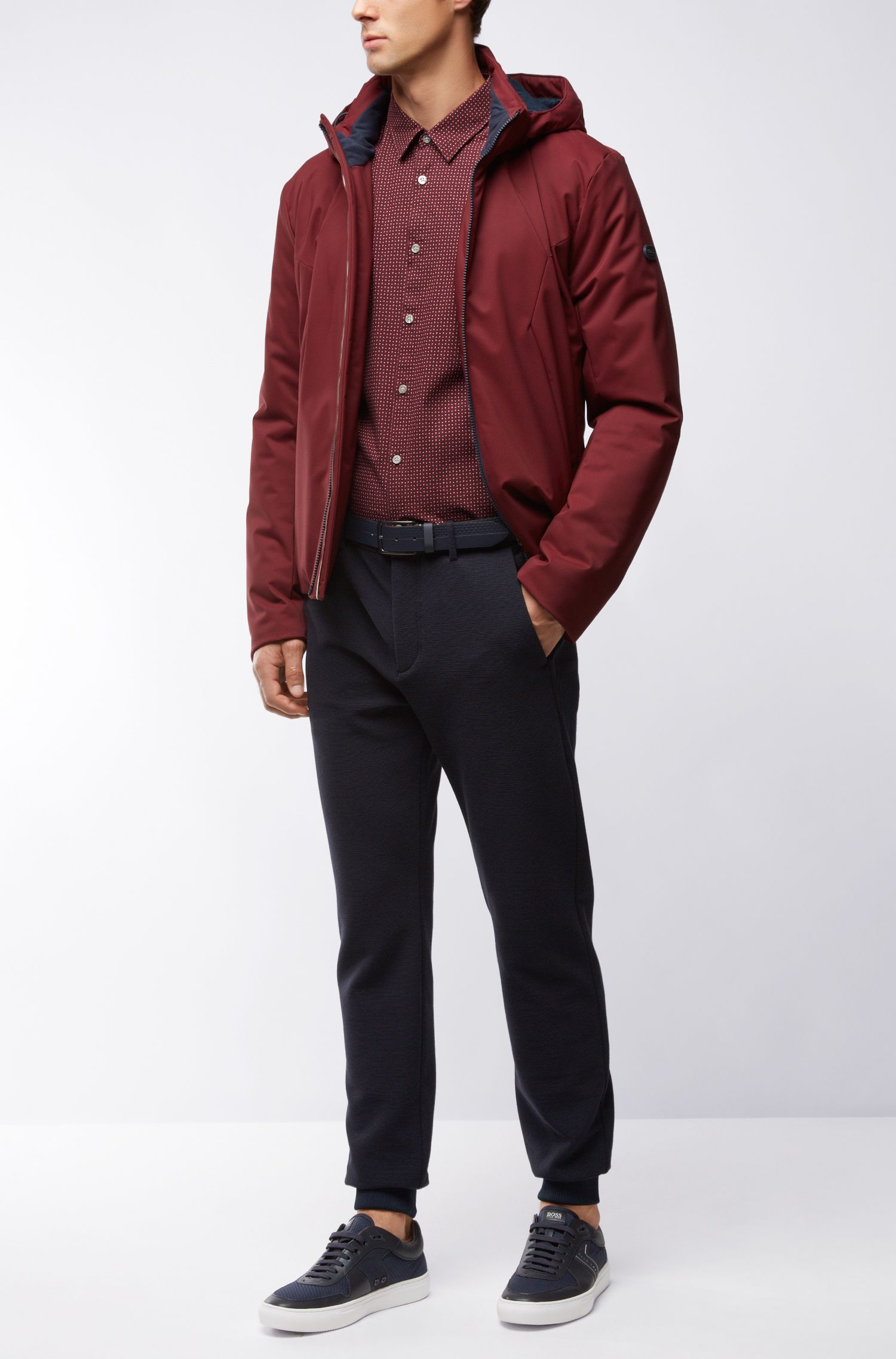 Cotton Button Down Shirt, Regular Fit | C-Bustai R, Red
