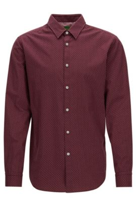 'C-Bustai R' | Regular Fit, Cotton Button Down Shirt, Red