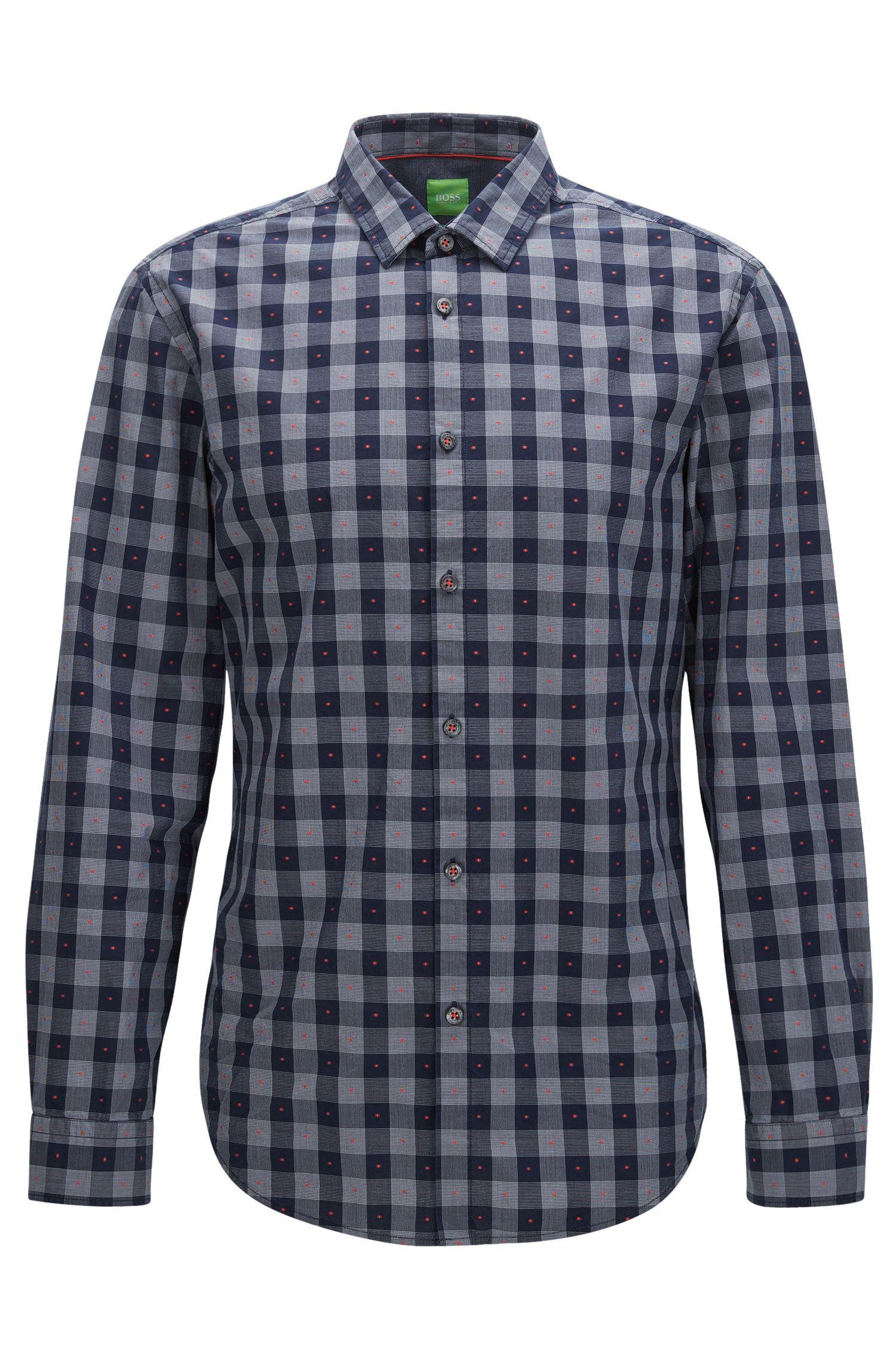 Fil Coupe Cotton Button Down Shirt, Slim Fit | C-Bersh S, Dark Blue