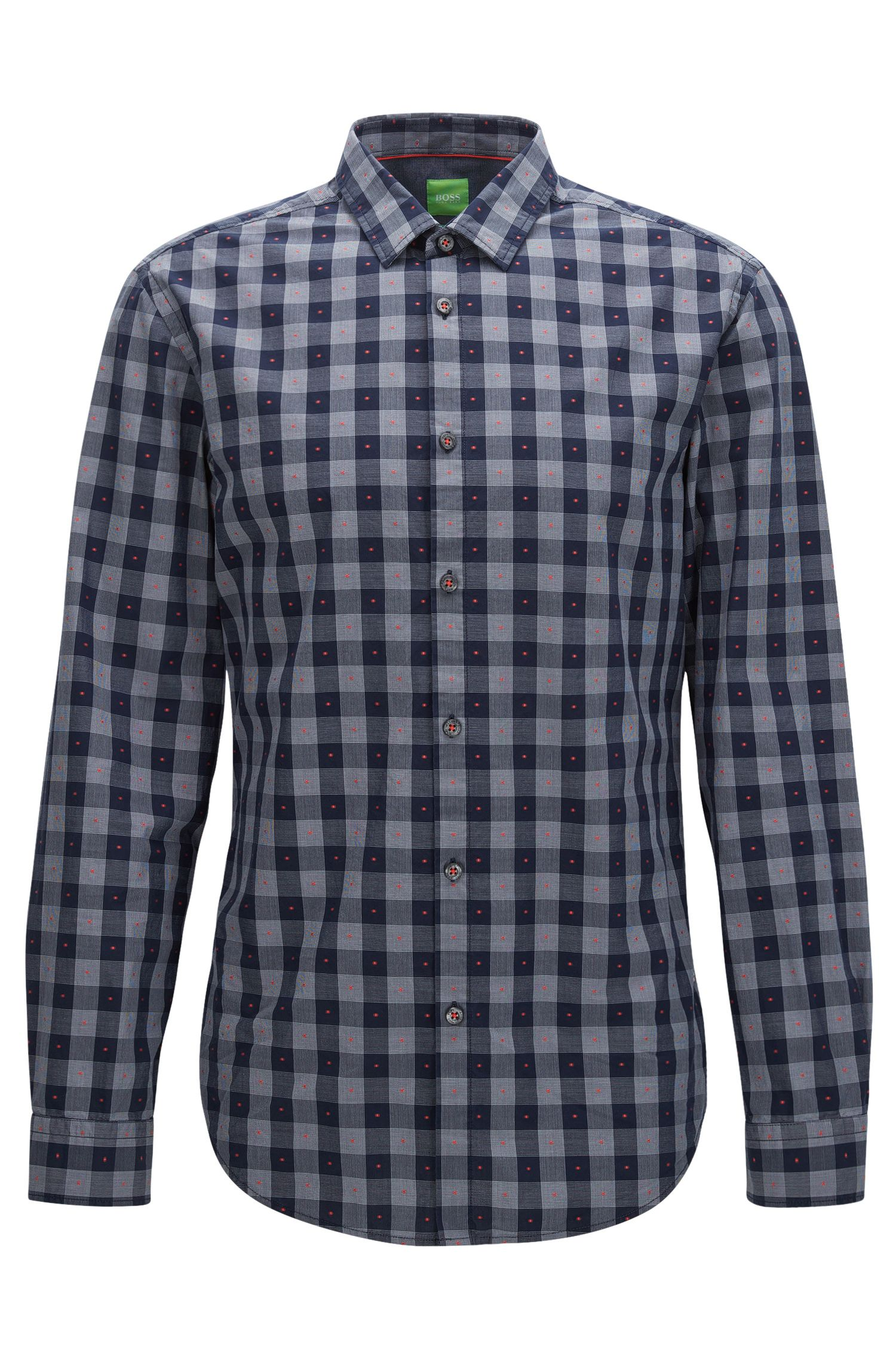 Fil Coupe Cotton Button Down Shirt, Slim Fit | C-Bersh S