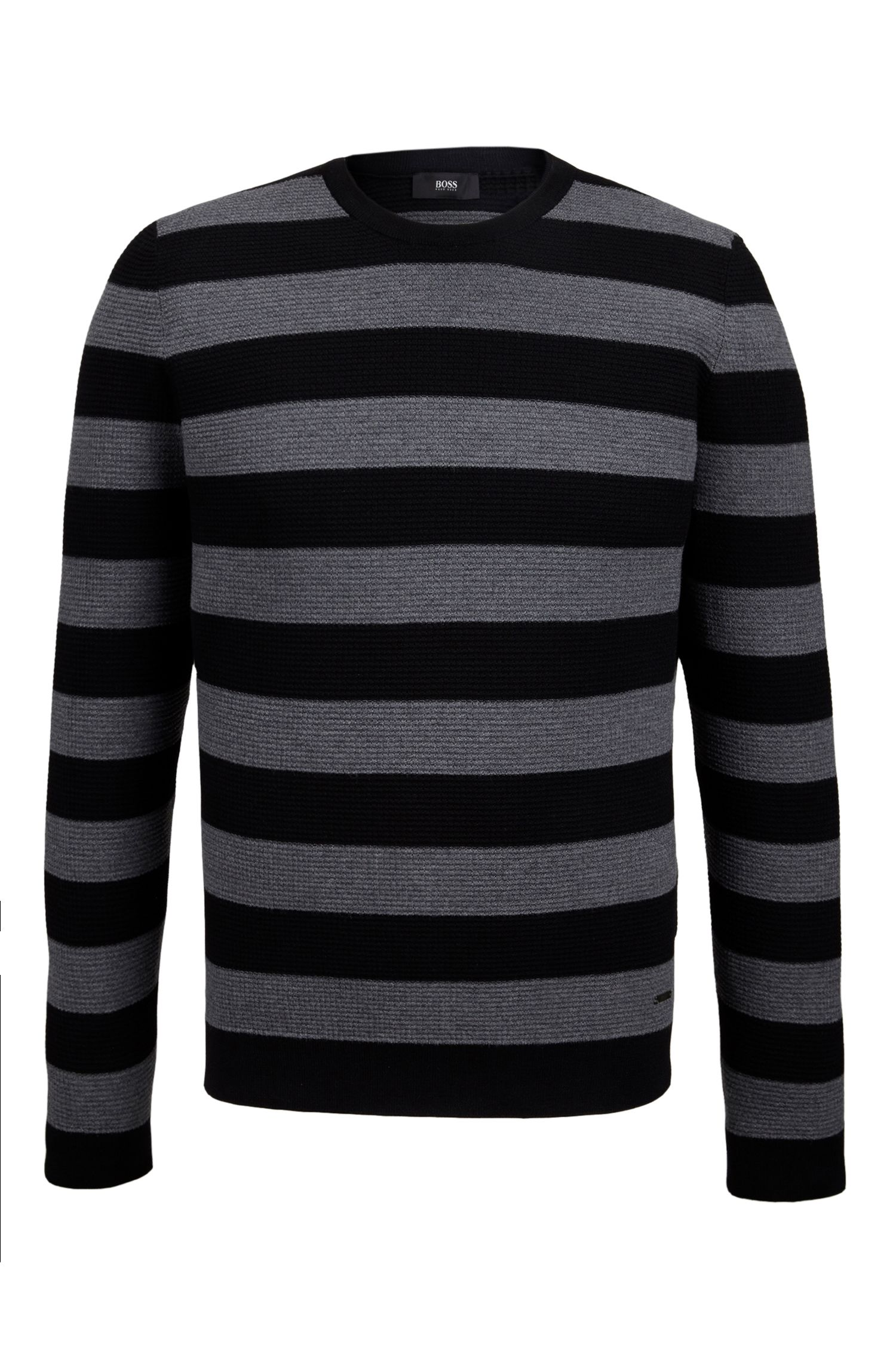 Striped Virgin Wool Sweater | Nantoni, Black