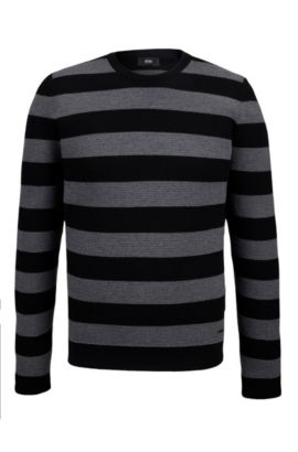 Striped Virgin Wool Sweater | Nantoni, Black