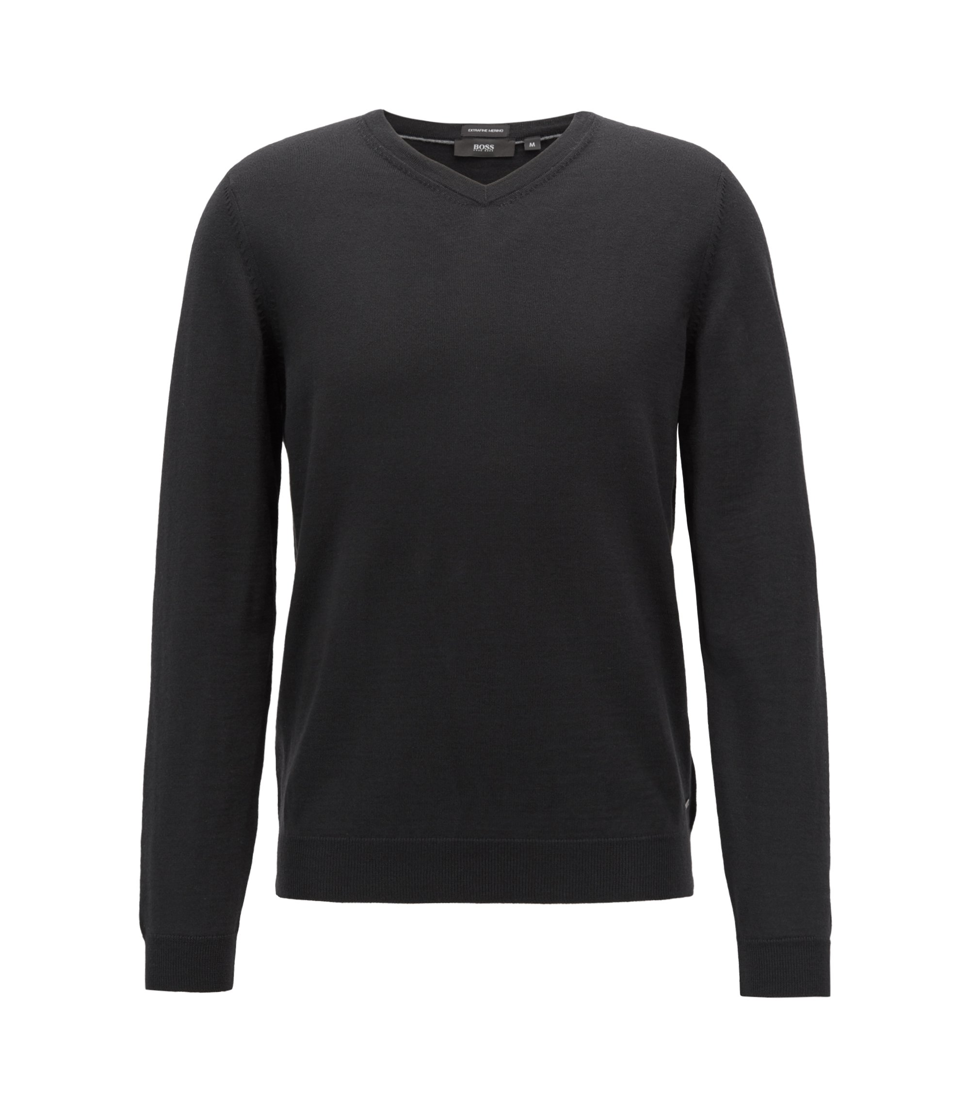 V-neck sweater in virgin wool, Black