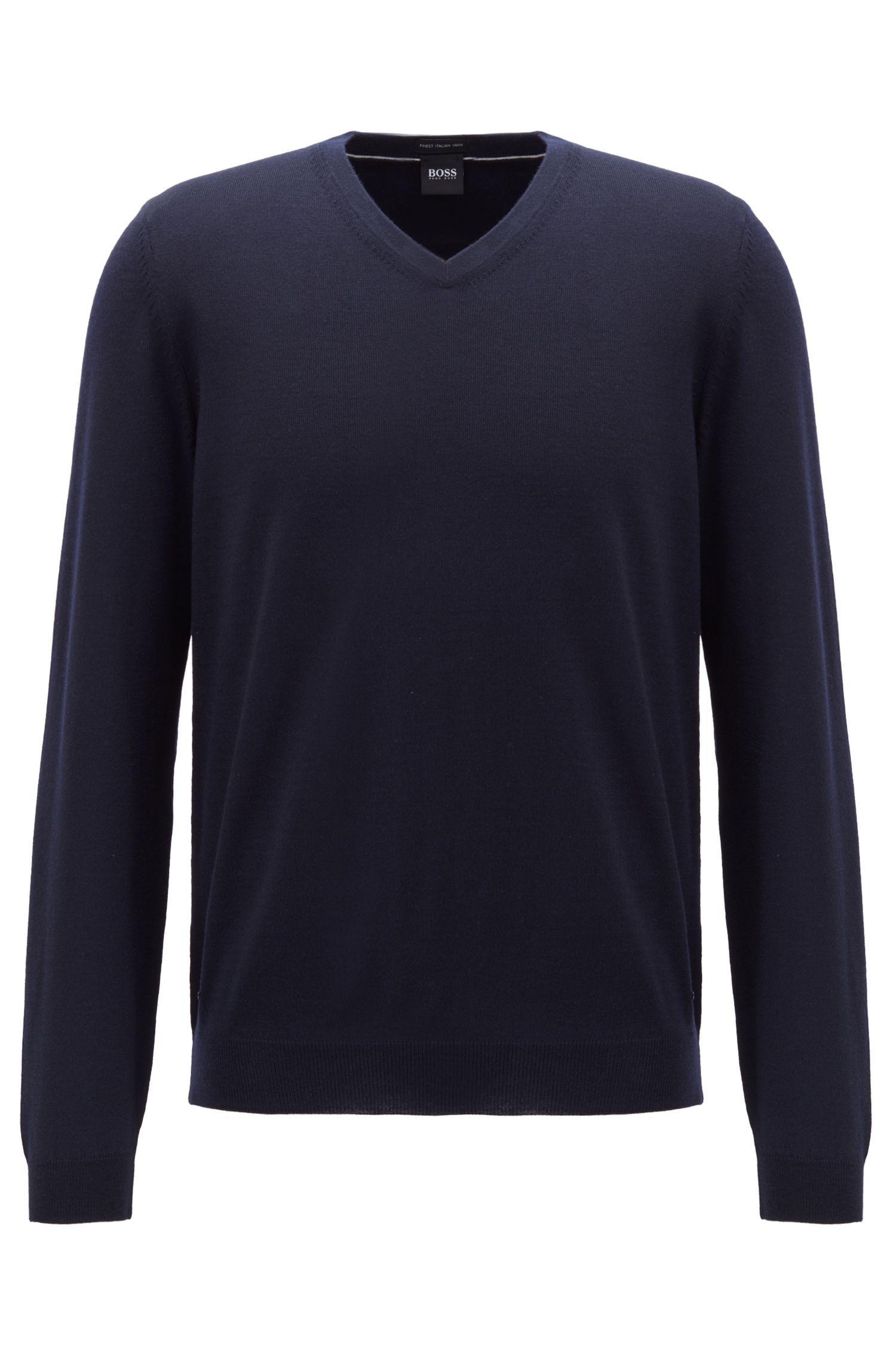 V-neck sweater in virgin wool, Open Blue