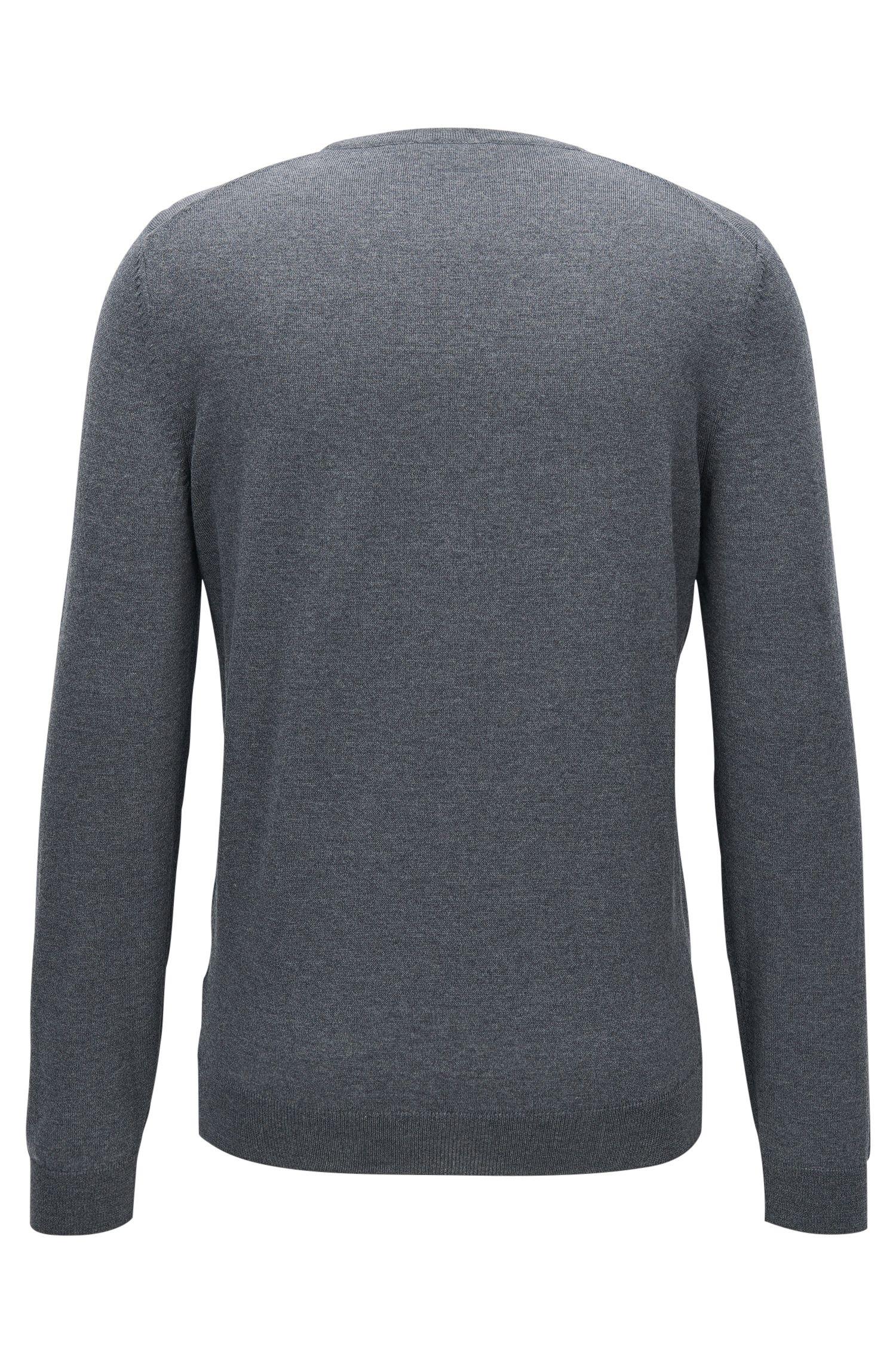 V-neck sweater in virgin wool, Grey