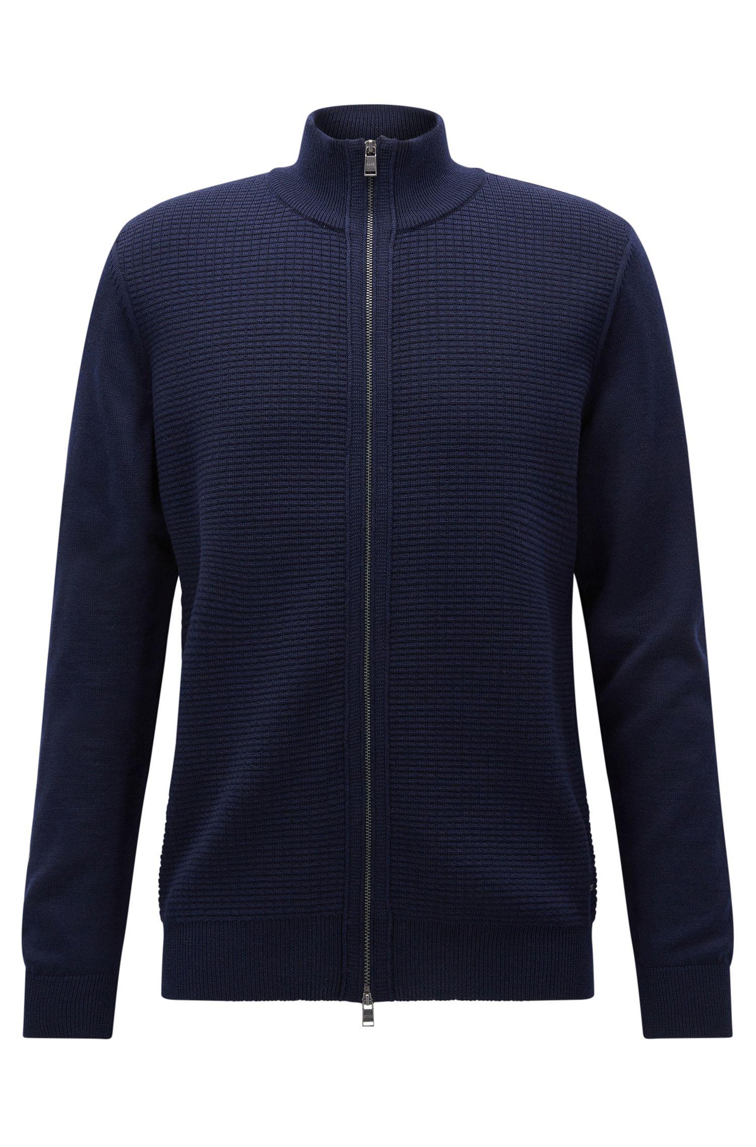 Waffle Knit Virgin Wool Zip Jacket | Naddeo