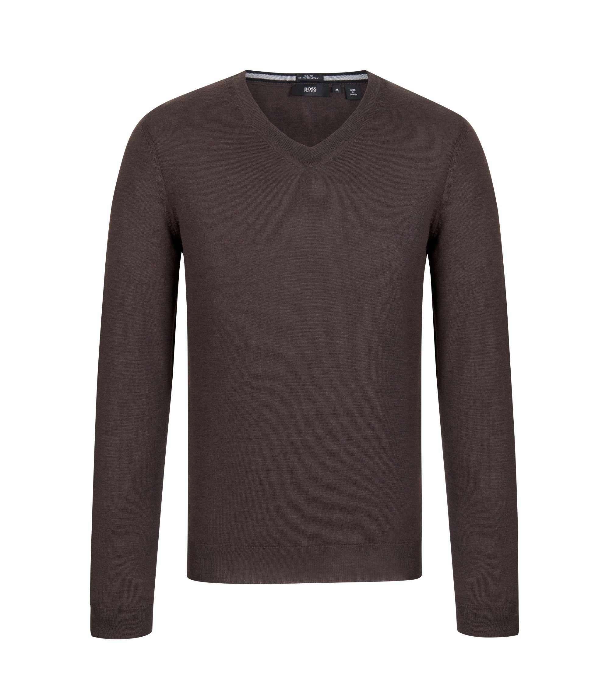 V-Neck Wool Sweater | 'Melba', Dark Brown