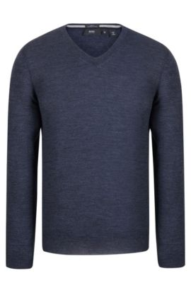 V-Neck Wool Sweater | 'Melba', Dark Blue