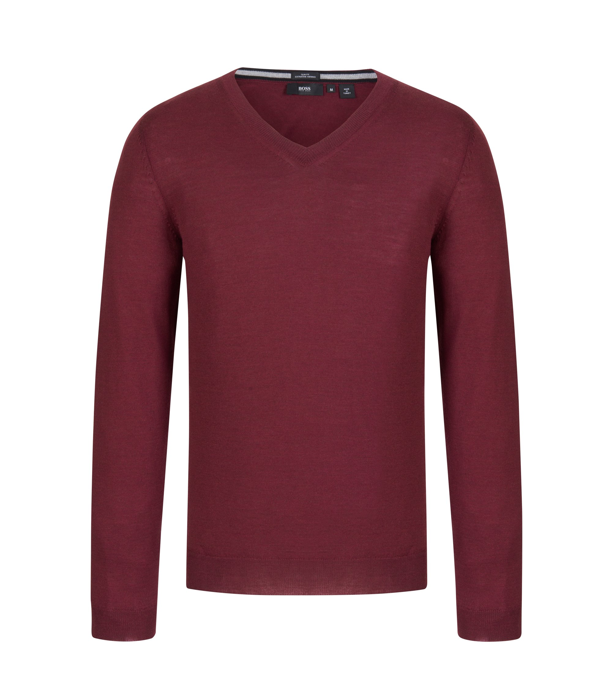 V-Neck Wool Sweater | 'Melba', Dark Red