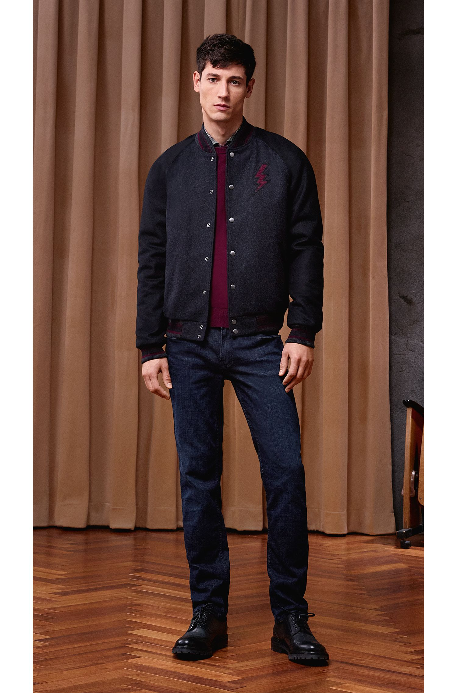 'Albonon' | Cotton-Virgin Wool Blend Sweater, Open Red