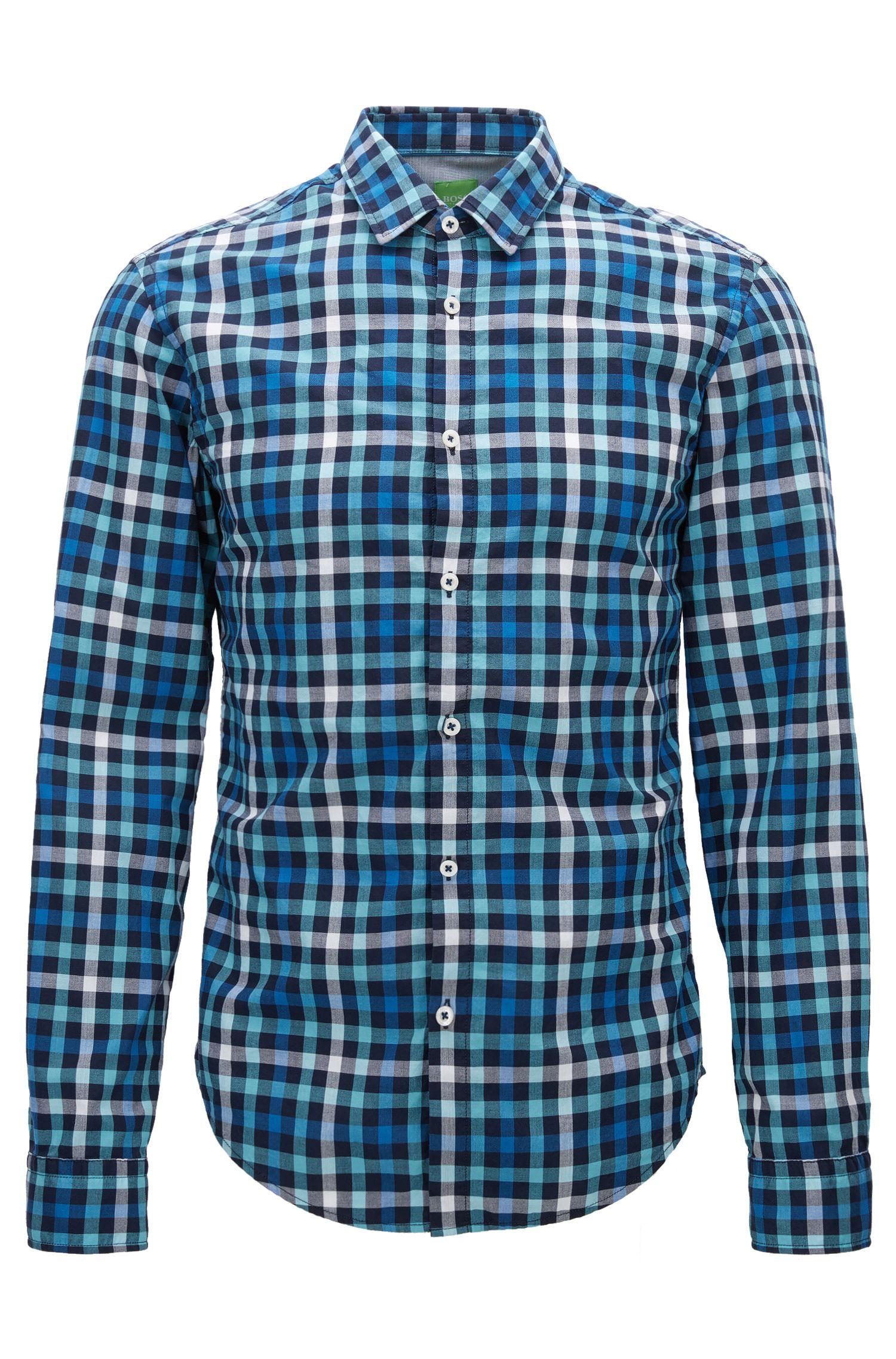 Check Cotton Button Down Shirt, Slim Fit | C-Baldasar S