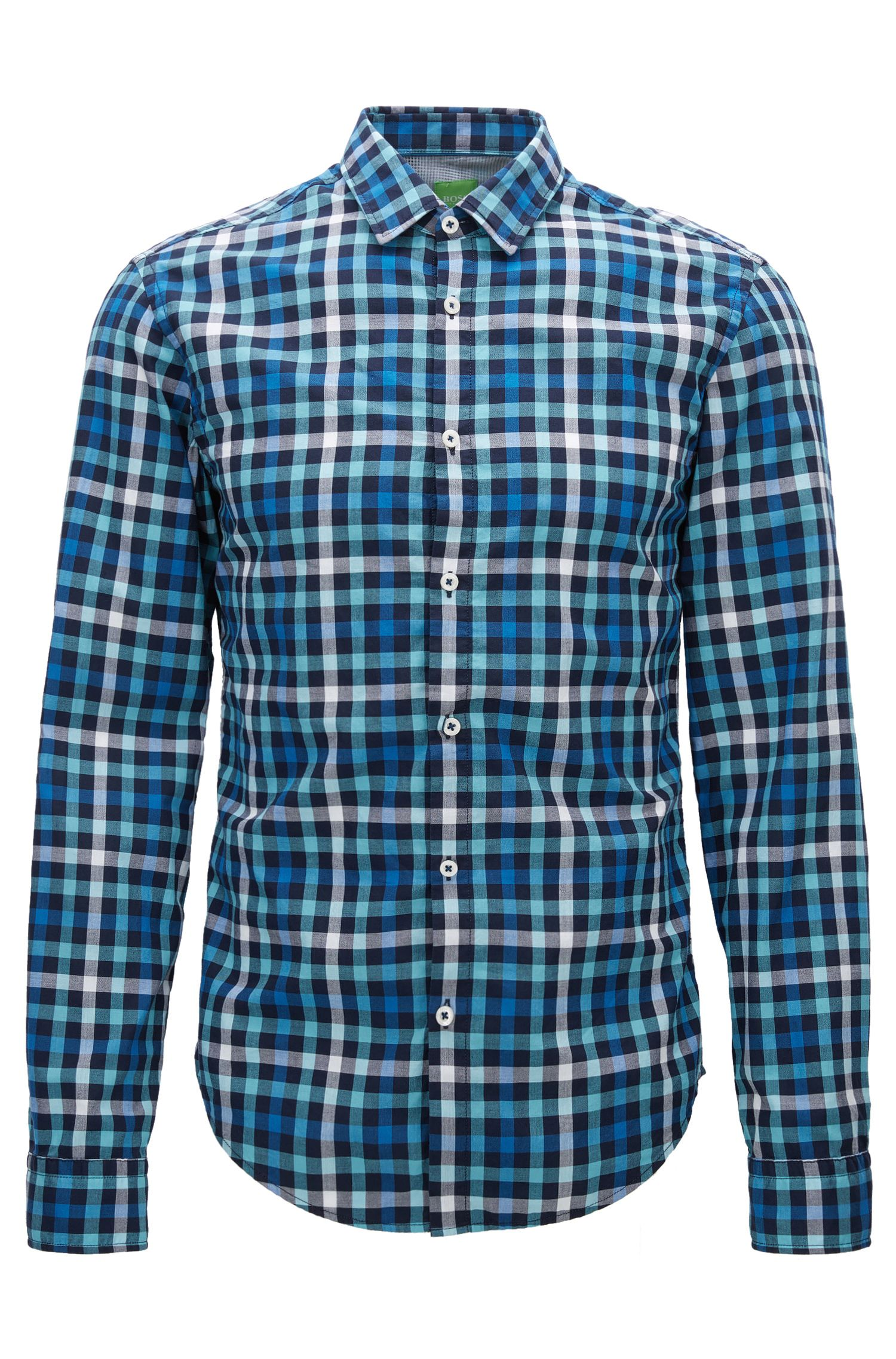 'C-Baldasar S' | Slim Fit, Check Cotton Button Down Shirt