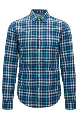 Check Cotton Button Down Shirt, Slim Fit | C-Baldasar S, Open Blue