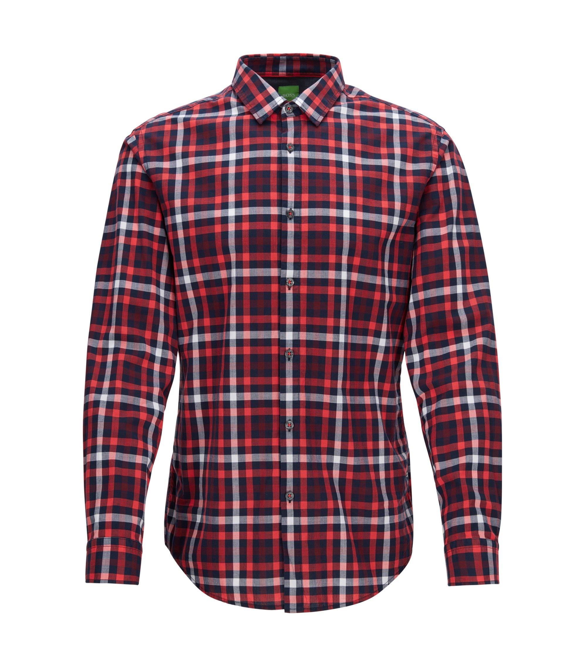Check Cotton Button Down Shirt, Slim Fit | C-Baldasar S, Dark pink