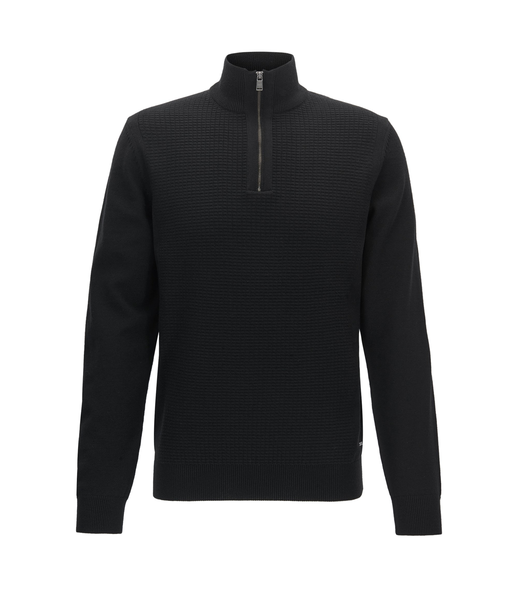 Waffle-Knit Virgin Wool Sweater | Nacello, Black