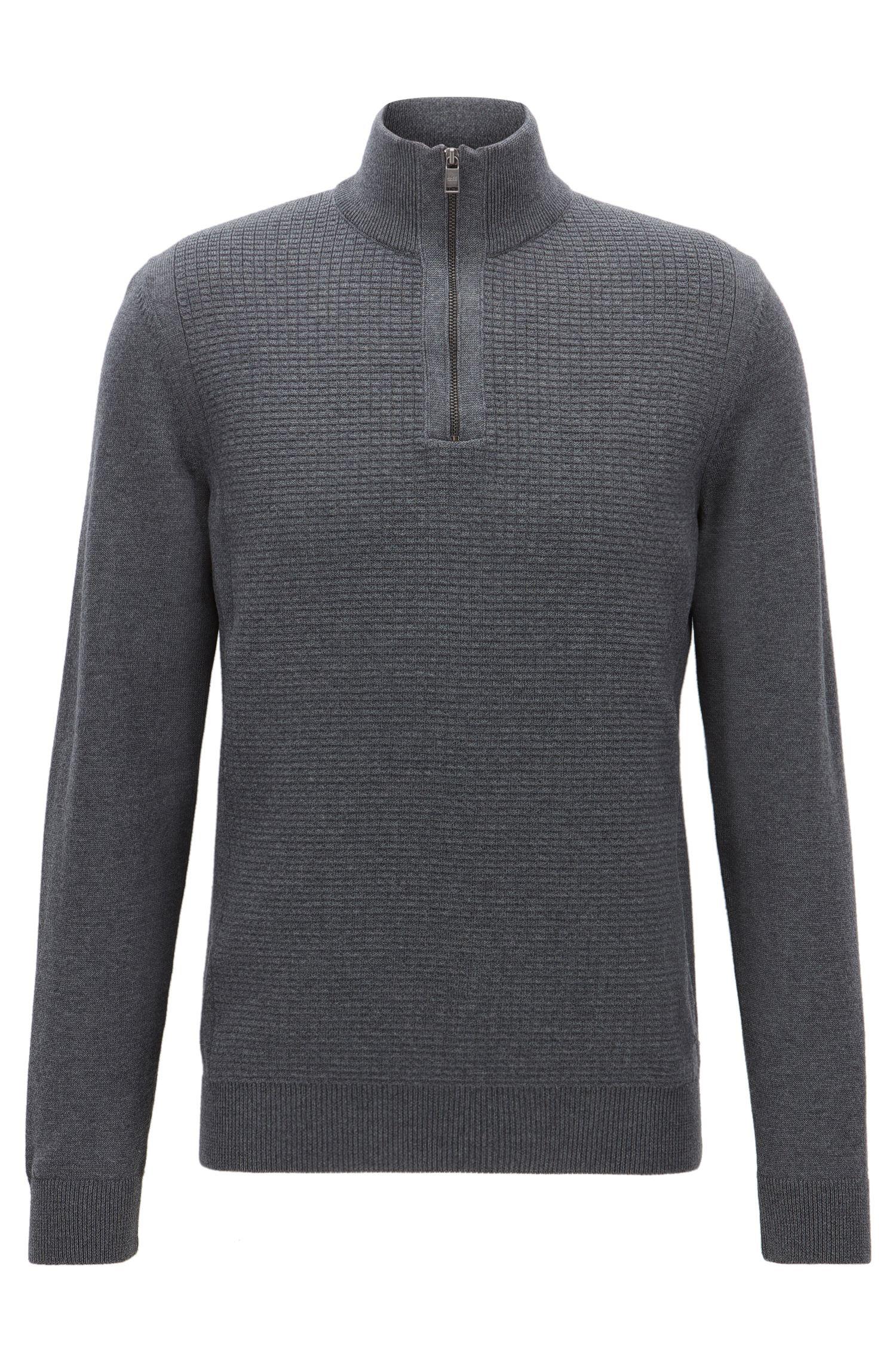 Waffle-Knit Virgin Wool Sweater | Nacello, Grey