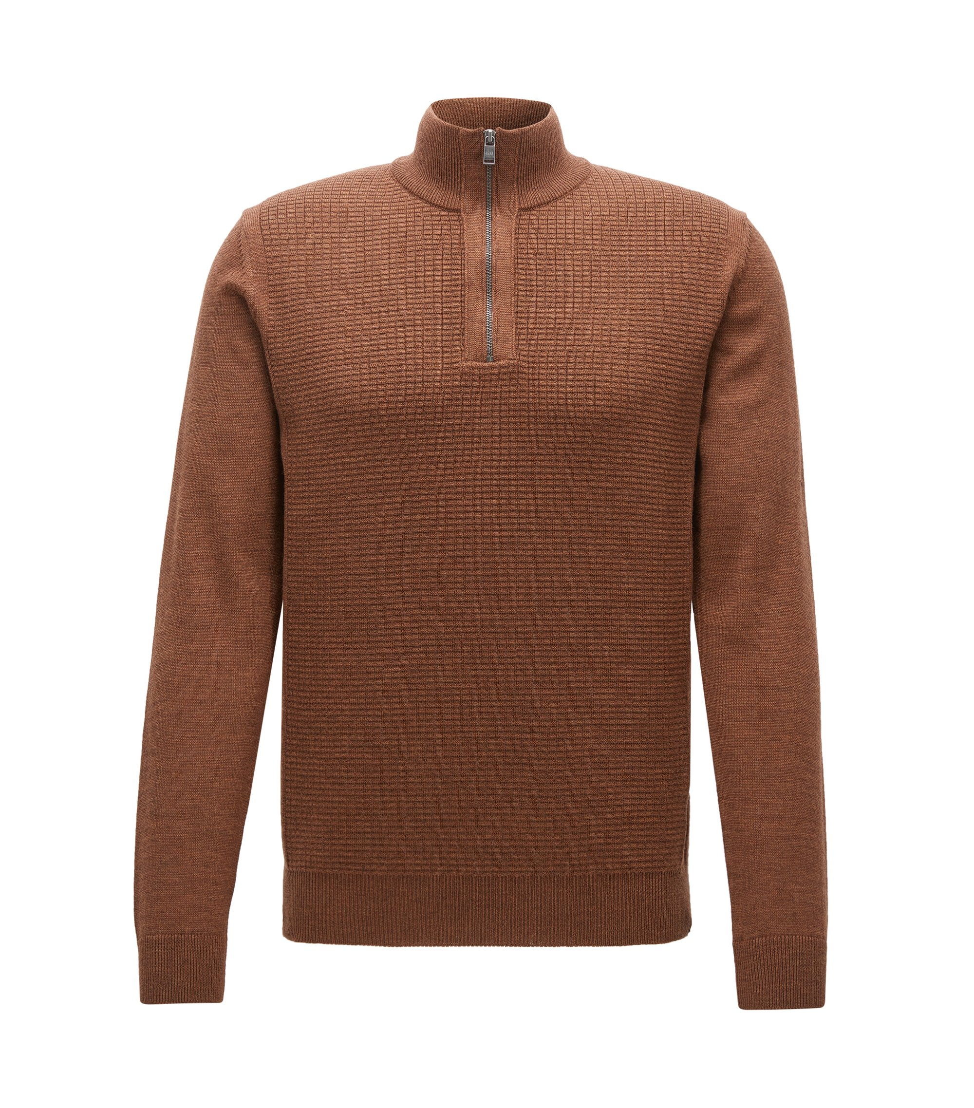 Waffle-Knit Virgin Wool Sweater | Nacello, Brown