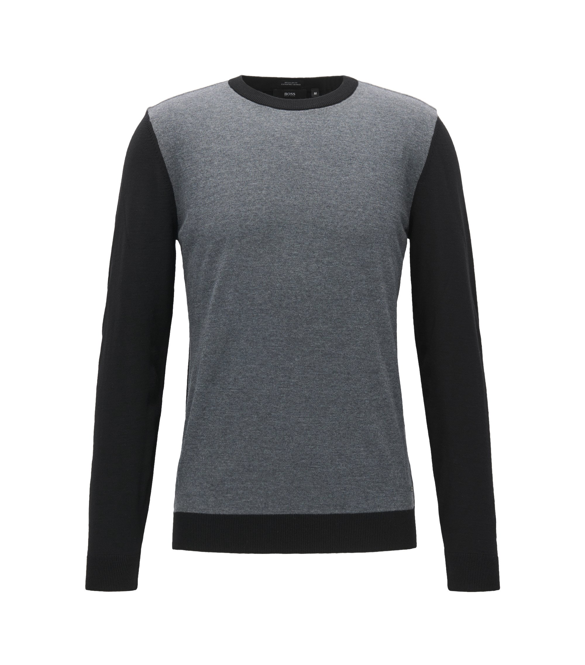 Colorblocked Merino Wool Sweater, Regular Fit | Nauro, Black