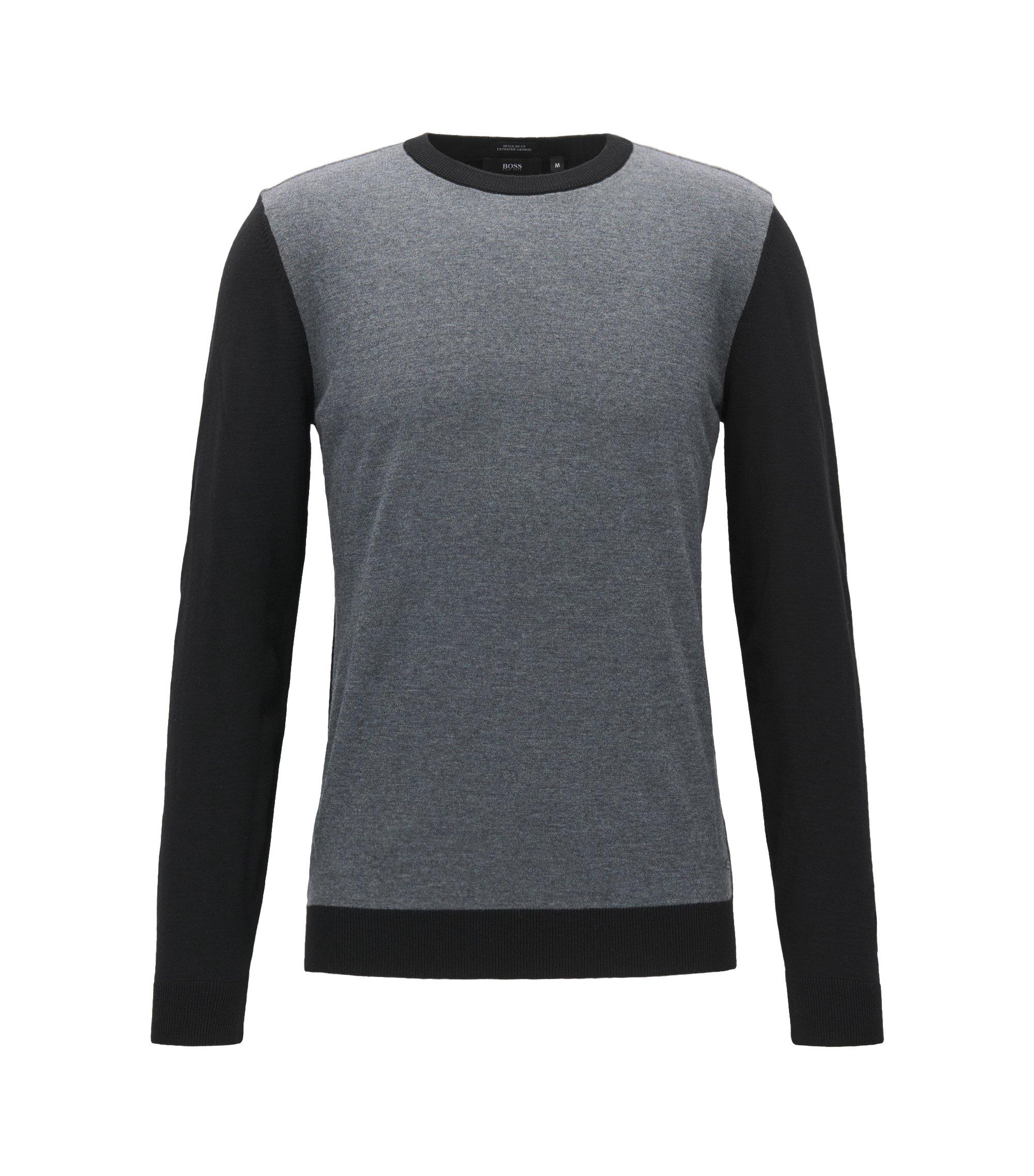 Colorblocked Merino Wool Sweater, Regular Fit | Nauro, Black