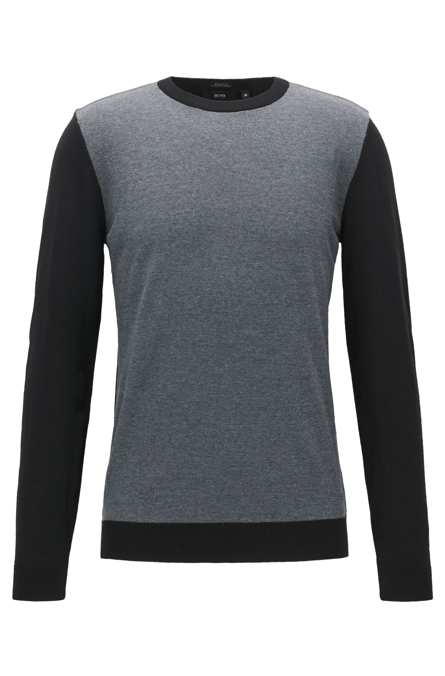 Colorblocked Merino Wool Sweater, Regular Fit | Nauro