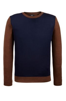 Colorblocked Merino Wool Sweater, Regular Fit | Nauro, Brown
