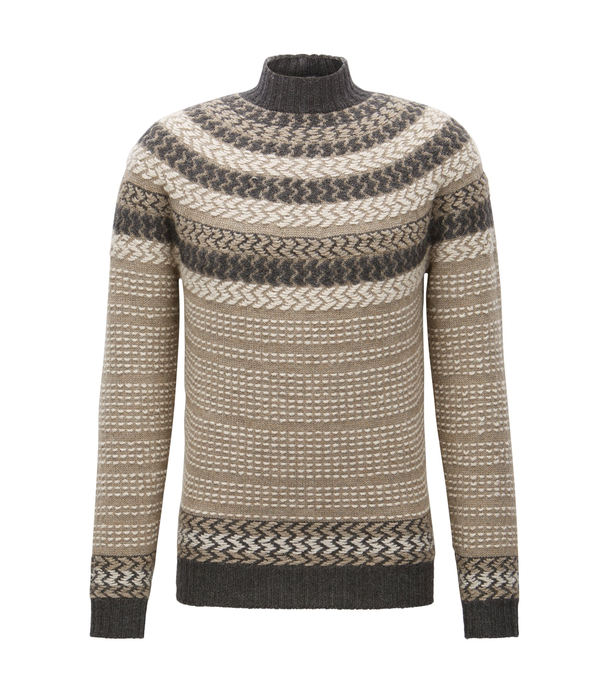 Virgin Wool-Alpaca Turtleneck Sweater | Nateus, Khaki